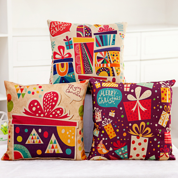 Aliexpress.com : Buy Decorative Pillow Cover New Year s Gift Pattern Red Linen ONE SIDED Toss ...