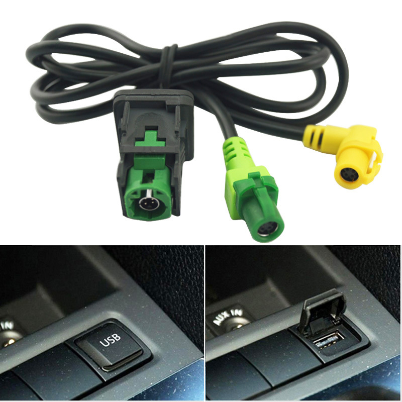 AUX <font><b>USB</b></font> Switch Cable For <font><b>VW</b></font> <font><b>Golf</b></font> 5/6 Scirocco Passat jetta mk6 <font><b>USB</b></font> Input <font><b>USB</b></font> Connector Surface + cable RCD510 5KD 035 726 A image