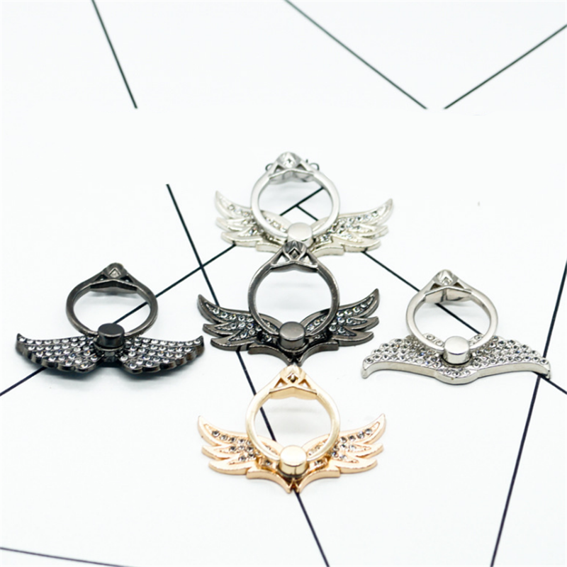 UVR 360 Degree Metal Finger Ring Wing Diamond Smartphone Stand Holder Mobile Phone Holder Stand For IPhone Xiaomi All Phone