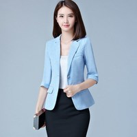 Women's Three Quarter Sleeve Summer Blazers Plaid One Button Slim Coat Office Lady Jacket Female Tops Suit Blazer Femme Jackets