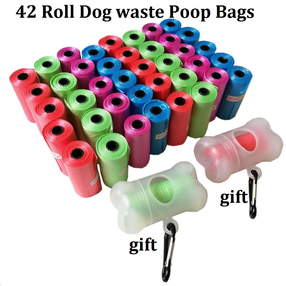 Dog Waste Poo Bags Rolls with Waste Bag Holder Dispenser Refill Bags Leash Clip