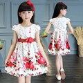 Crianças meninas vestidos de verão crianças curto-de mangas compridas vestido de princesa flor meninas roupas de impressão