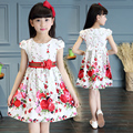 Kids girls summer dresses children short-sleeved  princess dress printing flower girls clothes