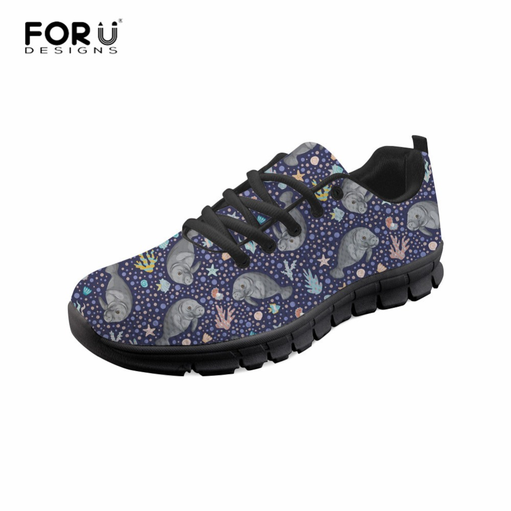FORUDESIGNS Chunky Sneakers Manatee Mesh-Shoes Women Flats Prints Breathable Ladies Non-Slip