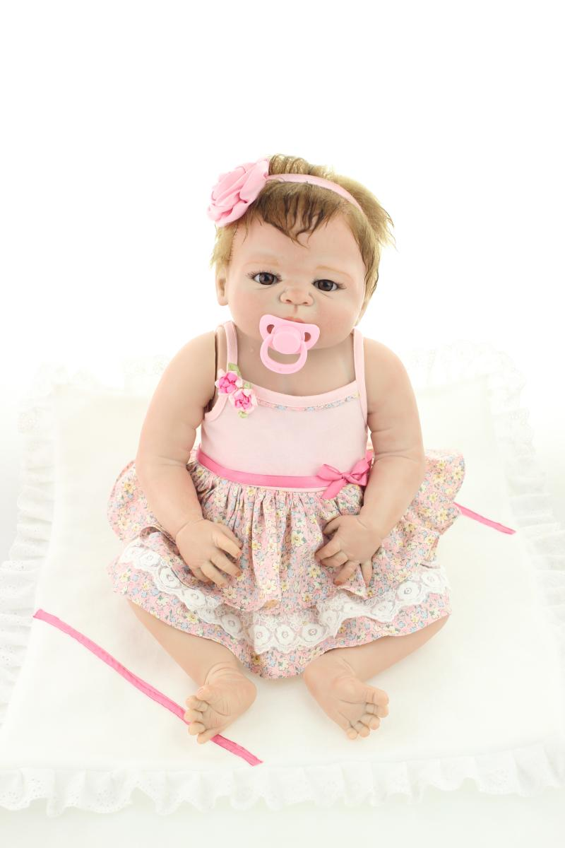 55cm Lifelike Silicone Reborn Baby Dolls in Pink Dress 22 Inch Full Vinyl Boneca BeBe Re ...