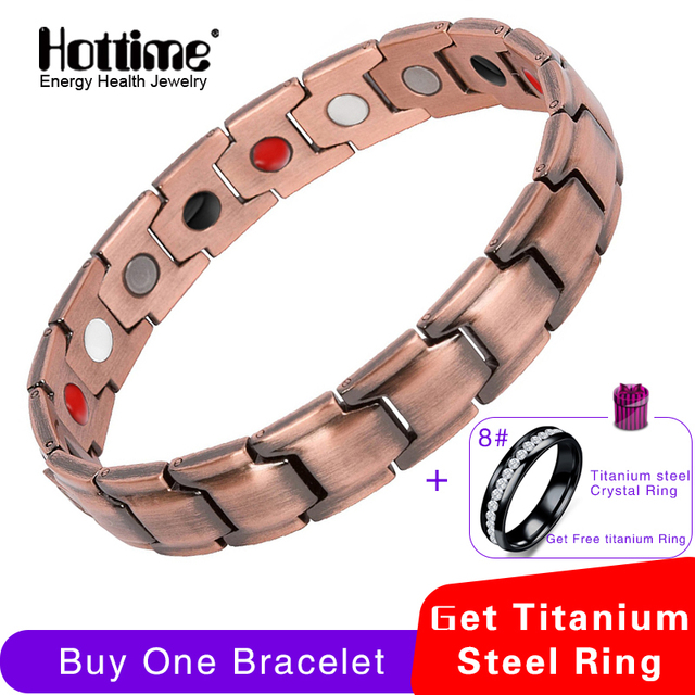 Hottime Red Copper Bracelets With Magnet For Men Women Arthritis Pain Relief High Quality Luxury Magnetic