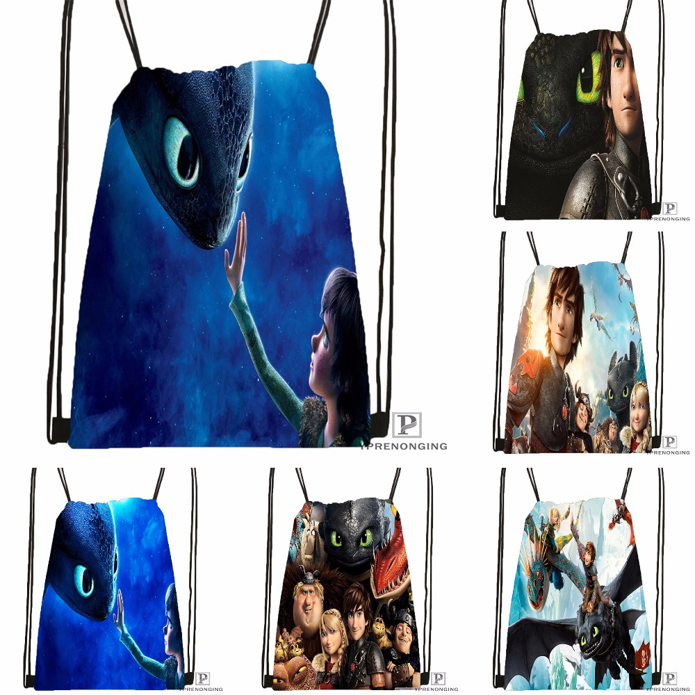 Custom How To Train Your Dragon Drawstring Backpack Bag Cute Daypack Kids Satchel (Black Back) 31x40cm#180531-04-02