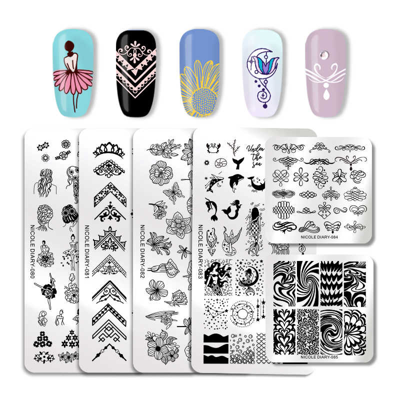 NICOLE DIARY Nail Art Stamping Plates Geometric Flowers Multi-pattern Nail Art Stamp Stencil Template Manicure Tools