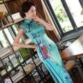 Charming Retro Cyan Satin Silk Cap Sleeve Chinese Traditional Cheongsam Evening Dress High-slit Full-Length Qipao QP26