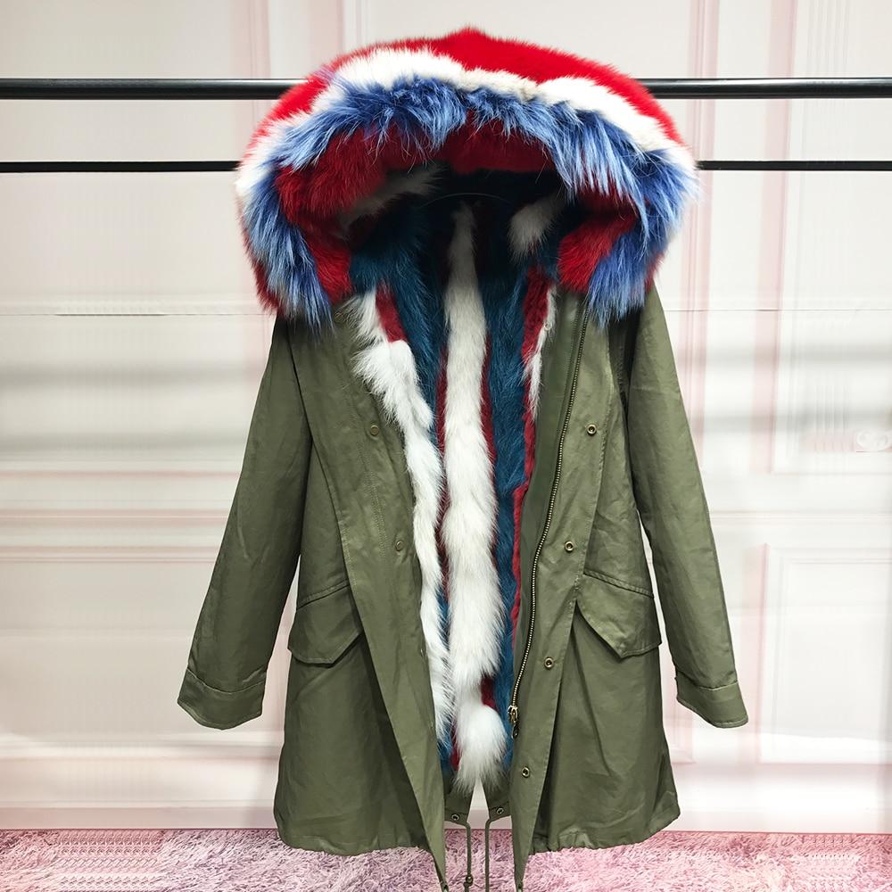 90 реальный Лисий Мех Лайнер Парка женская натуральный Лисий мех воротник пальто с капюшоном на зиму енота мех кролика с съемный вкладыш