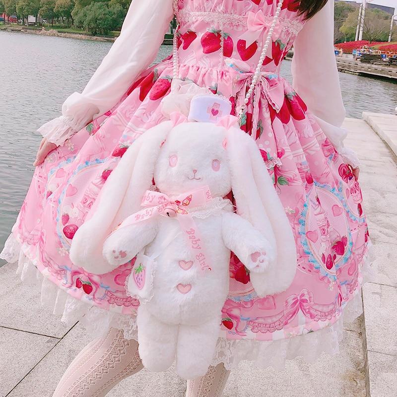 Coréen mignon oreilles de lapin Lolita Itabag Messenger sac à bandoulière Transparent japonais filles Kawaii sac à dos sacs d'école