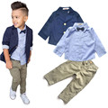 2016 Meninos Conjuntos de Roupas Cavalheiro Bonito Denim Crianças jaqueta + camisa + calça 3 pçs/set Crianças ternos do bebê dos miúdos Hot venda