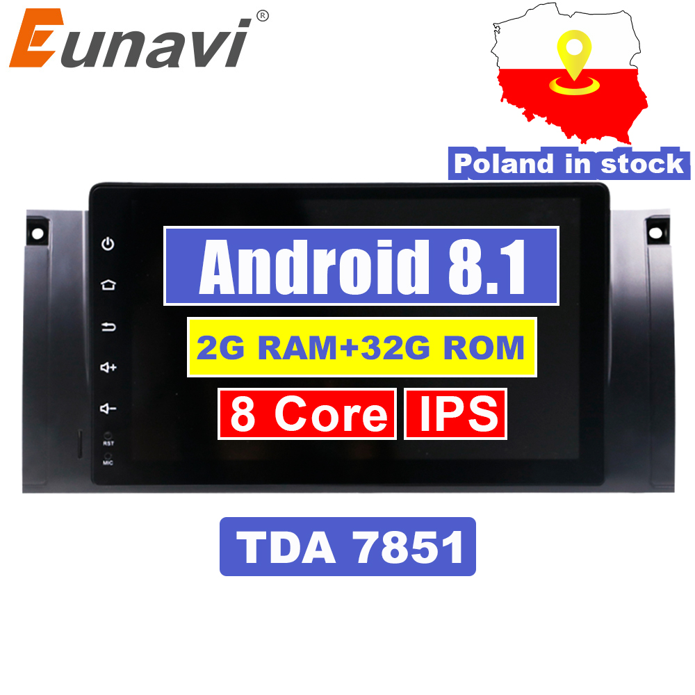 Eunavi 1 Din Android 7.1 8.1 HD 1024*600 Car Radio Stereo Car GPS Navigation 9 inch For BMW E53 E39 X5 with WiFi 3G Audio Player