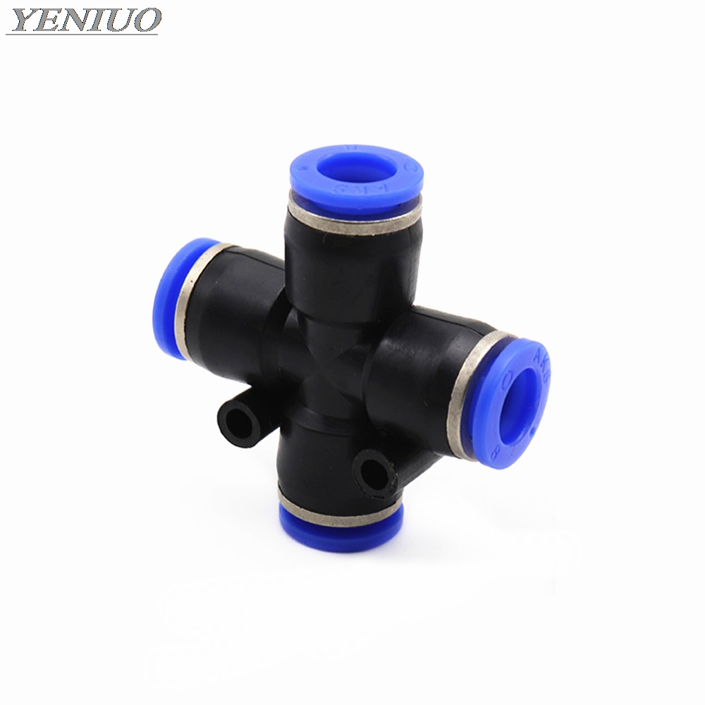 "PZA"" 4 Way Cross Shape Equal Pneumatic 4mm to 12mm OD Hose Tube Push In 4-Port Air Splitter Gas Connector Quick Fitting"