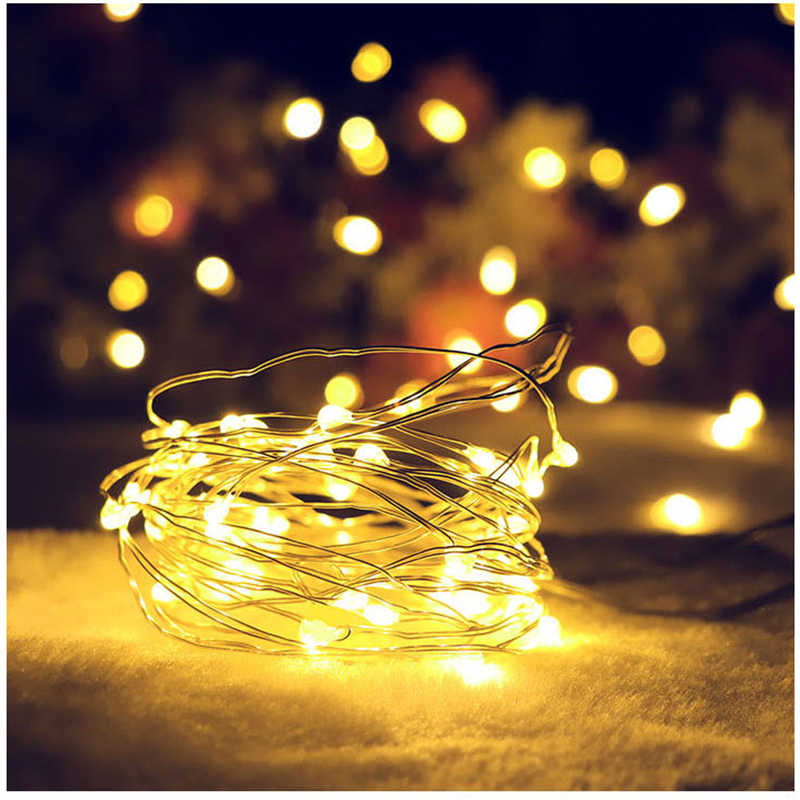 BTgeuse 5/10M Warm White LED Copper String Lights for Holiday Lighting for Wedding Party Garland Fairy Christmas Tree Decorate