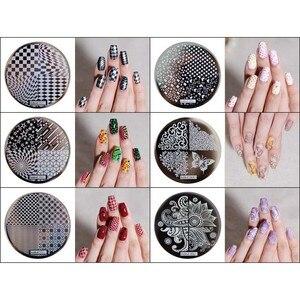 Image 1 - 1pc Nail Art Polish Stamp Plates 12 Designs Round Nail Stamping Plates DIY Nail Art Template Manicure Nail Tools Hehe 001 012#