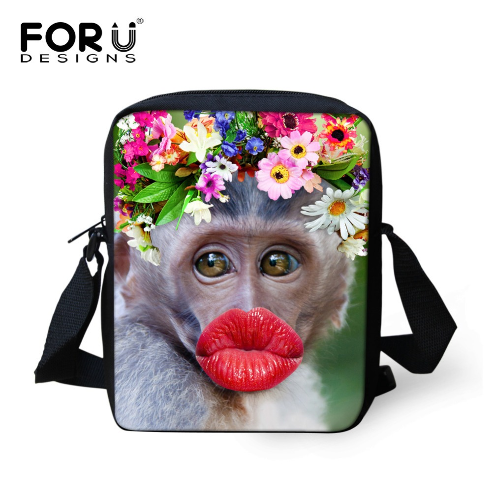 FORUDESIGNS Casual School Bags For Girls Sexy Lips Monkey Schoolbag Children Book Bag Mini Mochila Kids Kindergarten SchoolBag