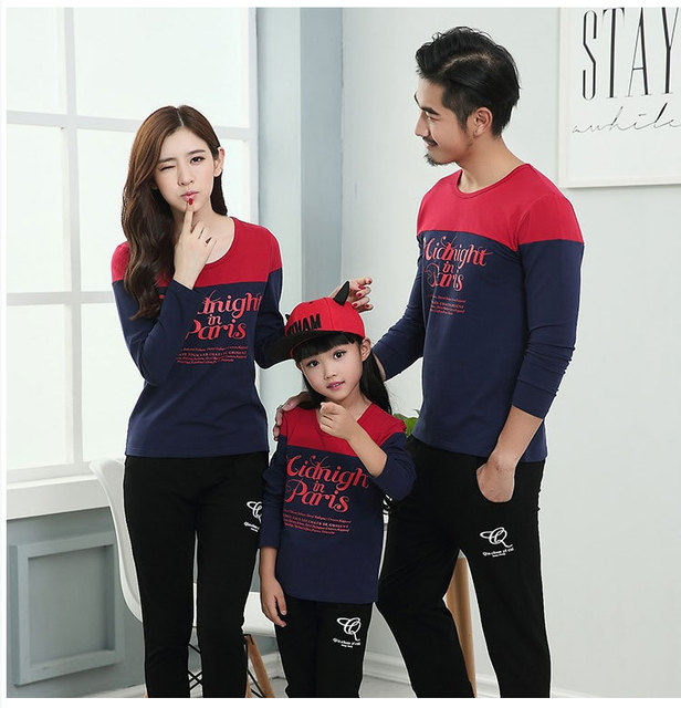 Casual Family Clothing Patchwork Mom/Mother and Daughter Father Son Clothes Family Matching Clothing Family Style Set QY9