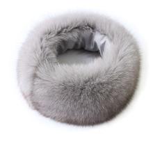 лучшая цена Hot Sale Real Fox Fur Scarf Women Headband Scarves Neck Warmer Natural Fox Fur Wrap Cape Shawl Poncho Snood Winter Warm Magnet