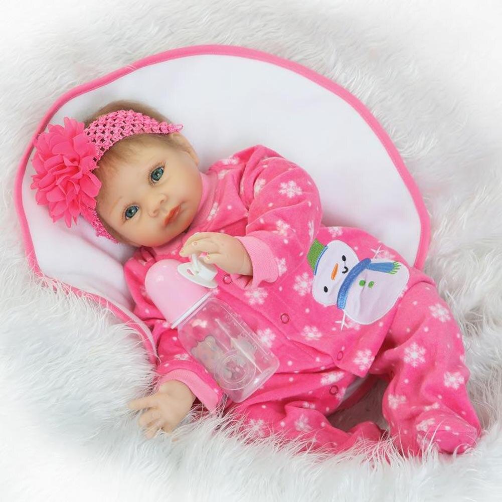 NPK 55cm Silicone Reborn Doll Set Lifelike Baby Newborn Dolls With Clothes for Kids Playmate BM88 npk 56cm lifelike reborn doll set silicone boy baby newborn dolls for kids playmate gift bm88