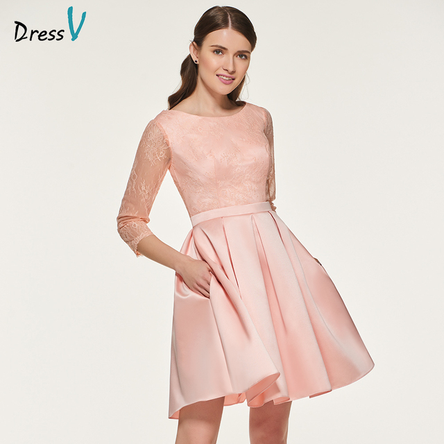 39531569aed Dressv elegant blue a line scoop neck bridesmaid dress wedding party women  3 4 sleeves lace bridesmaid dresses custom size