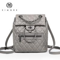 EIMORE Desinger Genuine Leather Backpack Women Bags Female Casual Dailypack Womens School Bags Backpacks For Teenage Girls