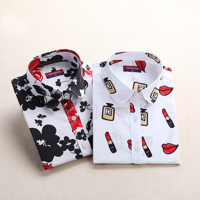 Dioufond Для женщин блузка хлопковые Блузы с длинным рукавом плюс Размеры Дамы Топ Femme милый рисунок отложной воротник Для женщин модная