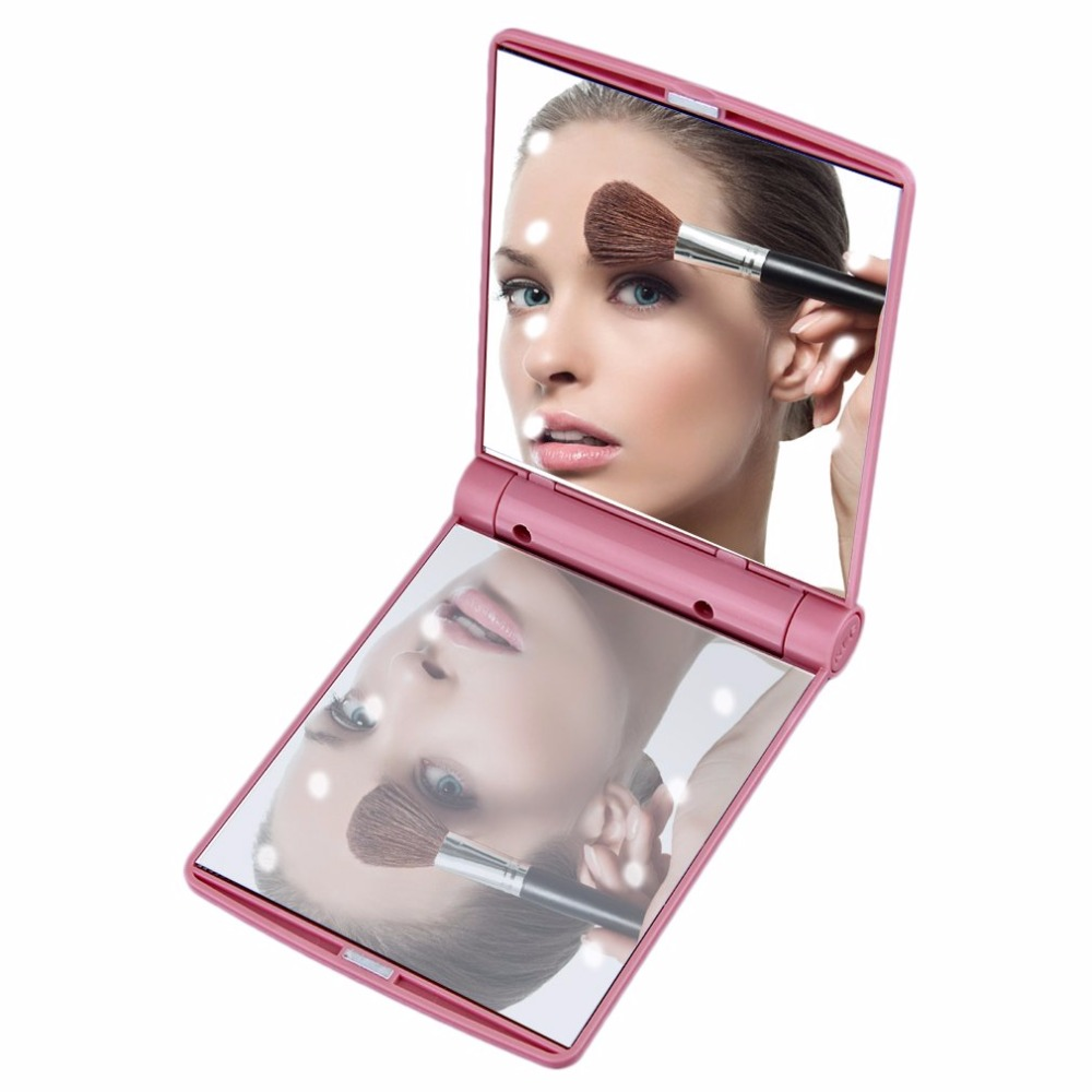 Built-in LED Bulbs Mirror Compact Folding Magnetic Opening Portable Pocket LED Make Up Mirror Lady Cosmetic Vanity Mirror Gift