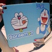 Tablet Case For Apple Ipad Air 2 Ipad 6 Doraemon Cartoon Style PU Leather Protective Cover