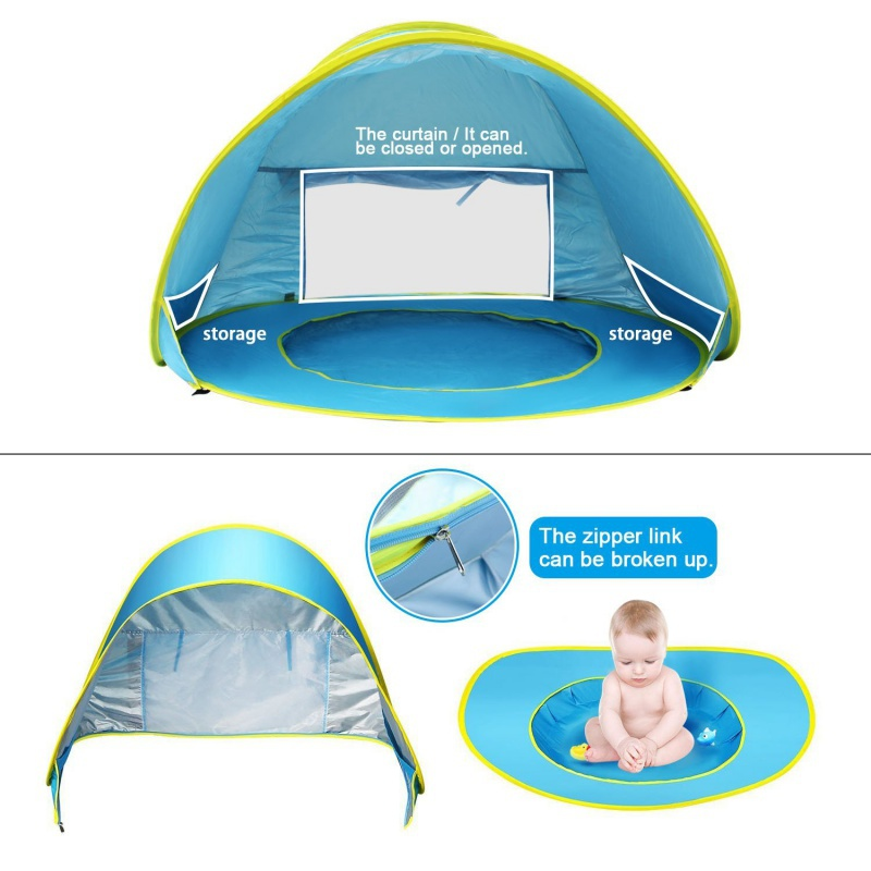 Automatic free build childrens beach tent children with pool waterproof pop-up baby UV awning