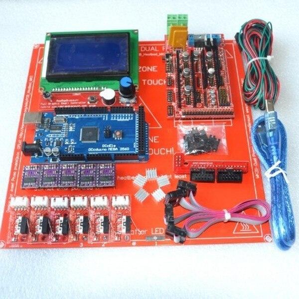 Reprap Rampas 1.4 Con Kit de Mega 2560 r3 + Heatbed mk2b + 12864 Controlador LCD + DRV8825 + Tope Final + Cables Para Impresora 3D