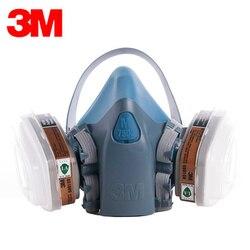 Oryginalny 3M 7502 6001 maska gazowa maska silikonowa zestaw Anti opary organiczne benzen PM2.5 uniwersalna ochrona respirator farba pył w Chemiczne respiratory od Bezpieczeństwo i ochrona na