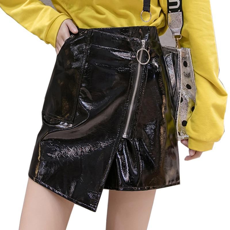 c6165b8c38812 US $11.98 Neophil Black Zipper Pu Mini A Line Skirts Womens Faux ...
