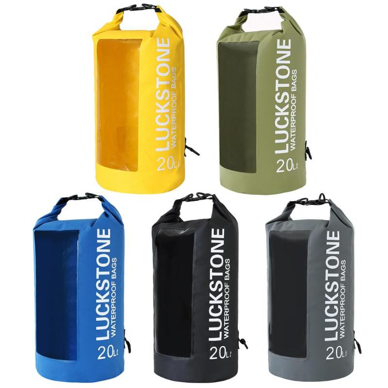 LUCKSTONE 5L/10L/20L Water Sports PVC Drift Backpack Outdoor Waterproof Transparent Window Lightweight Diving Floating Dry Bag