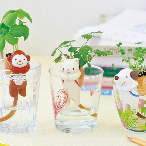 1pc/lot Mini Desktop Animal Tail Absorbent Potted Plant Grass Suction  Pot,Free Shipping