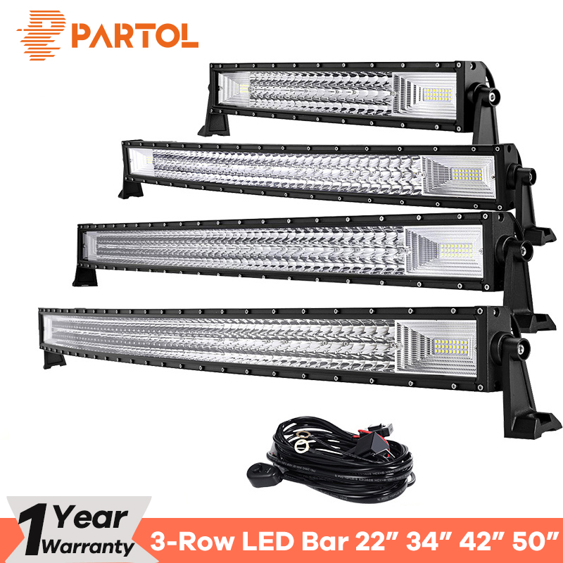 Partol 22 324W 34 486W 42 594W 50 702W Tri-Row Curved LED Light Bar Offroad Work Light Combo Beam 4X4 4WD LED Bar 12V 24V auxmart led bar curved 702w 594w 486w 324w led light bar 22 34 42 50 inch led lightbar work light combo led auto lamp