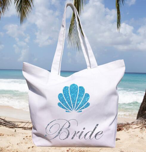 Beach Wedding Gift Bag Ideas: Custom Blue Glitter Shell Beach Wedding Bridesmaid Tote
