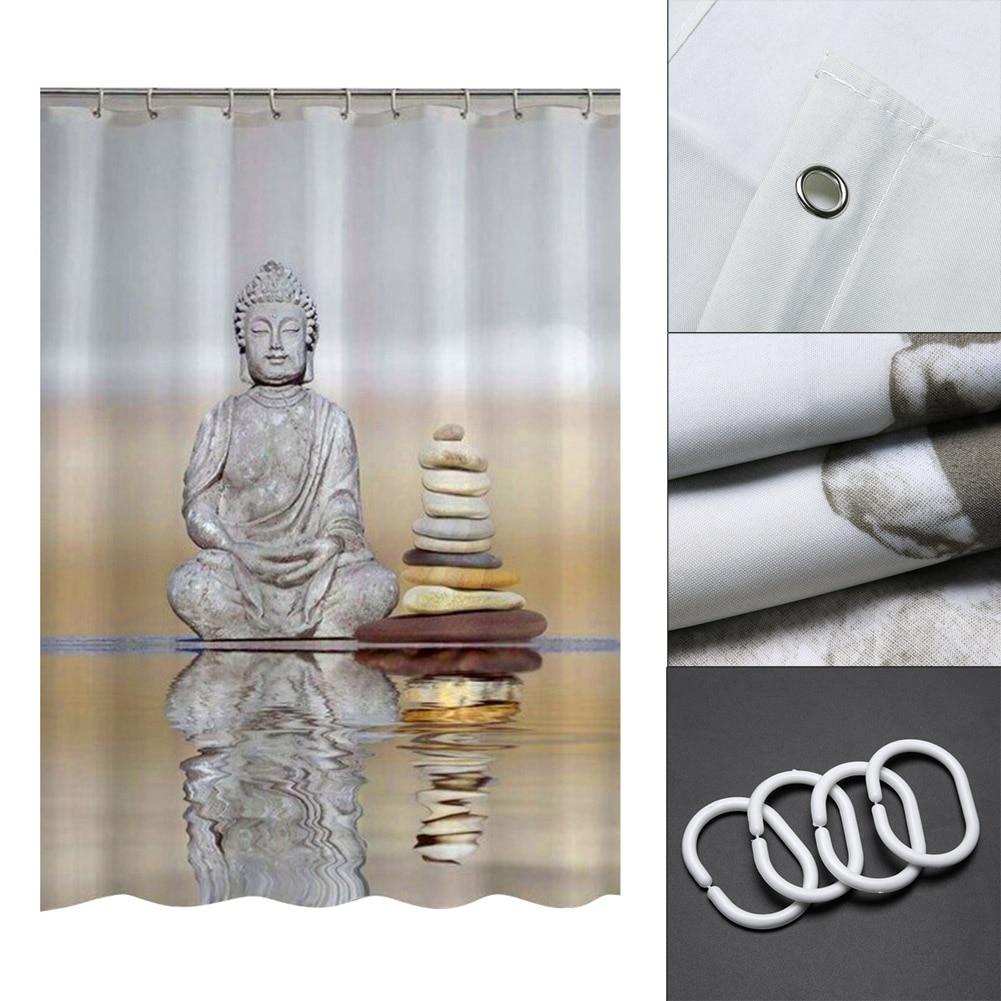 180cm * 180cm Buddha Shower Curtains Waterproof Fabric Bathroom Curtain With Hooks Custom Shower Curtain For Home Decor