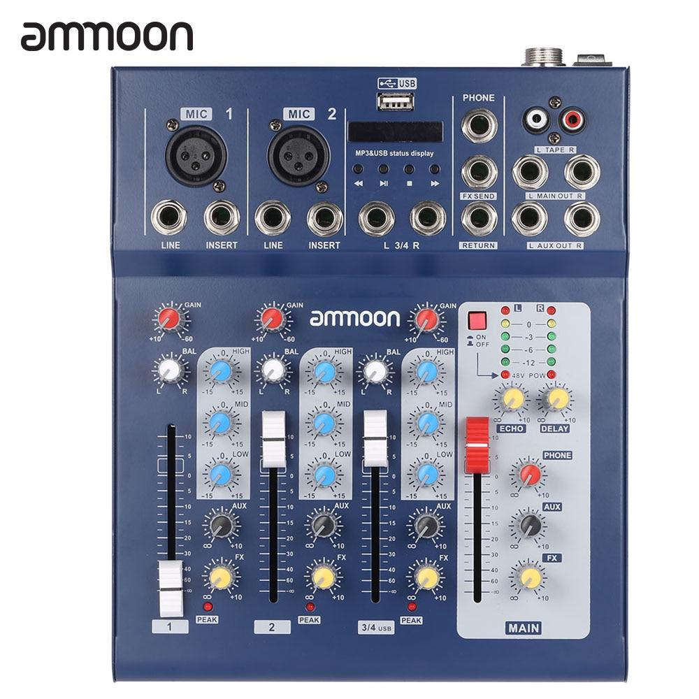 ammoon F4 USB 3 Channel Digital Mic Line Audio Mixing Mixer Console with 48V Phantom Power