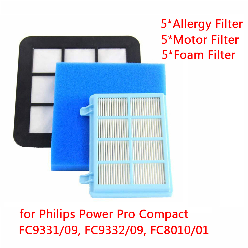 15pcs Washable Motor Foam Filter kit For Philips Power Pro Compact FC9331/09FC9332/09 FC8010/01 Vacuum Cleaner Parts Replacement