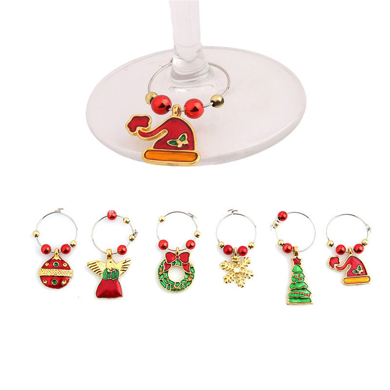 Hot 6Pcs/Set Christmas Wine Glass Charms Drink Markers Charm Rings Table Decoration Ornament For Home Party/Christms/Wedding