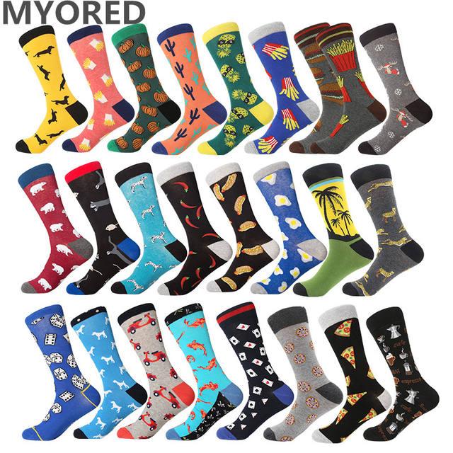 MYORED 1 pair drop shipping mens socks autumn winter business dress long socks cotton funny crew socks Calcetines de hombre