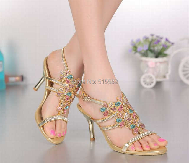 Online Shop hot 2018 new arrival bling bling rhinestone flower high heels  sandals colorful crystal women gold peep toe shoes plus size 34-44  3c19cbce2f35
