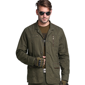 Military Tactical Casual Jacket Outdoor 100% Cotton Breathable Men's Jacket Camping Climbing Training Hiking Sports Coat Clothes