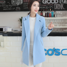 Free shipping, 2016 new long secti woolen trench coat, Korean version solid color windbreaker, trend was thin women's coat.