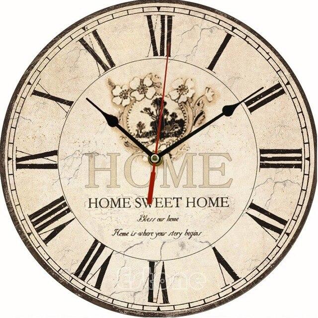 Flor grande de la vendimia Reloj de pared de madera antiguo de la ...