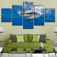 Animal Print Sea Shark Bear Lion Canvas Paintings Poster Wall Print Canvas 5 Panel Home Decorations Living Room Abstract 300