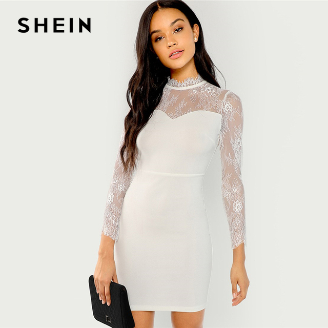 600cae42ce2 SHEIN White Elegant Party Lace Contrast Mock Neck Long Sleeve High Waist  Solid Dress 2018 Autumn Office Lady Women Dresses