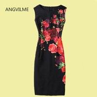 ANGVILME New 2017 Women Summer Dress Many Design Slim China Blue Flowers Printing Good Quality Zipper