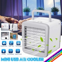 Mini Portable 5V USB Air Conditioning Summer Fan Humidifier Wind Natural Ventilator Air Cooler fans 7 Colors LED light for Home